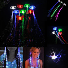 New 2016 Flash LED Hair Women Girl Braid Clip 1pcs Plastic Fiber LED Light Braid for Party Dance Gift Halloween Decor 6ZHH065