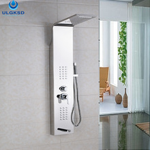 ULGKSD Waterfall+Rainfall Shower+Thermostatic Valve+Massage Jets Shower Panel Wall Mount+Handheld+Bidet Bath Faucet Shower Panel