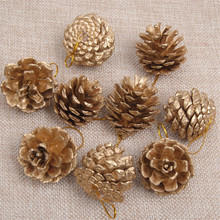 9 pcs/set natal Christmas Golden Silver Pine Cones Christmas Tree Decor Bauble New Year Gift Party Decorative Ornament Supply
