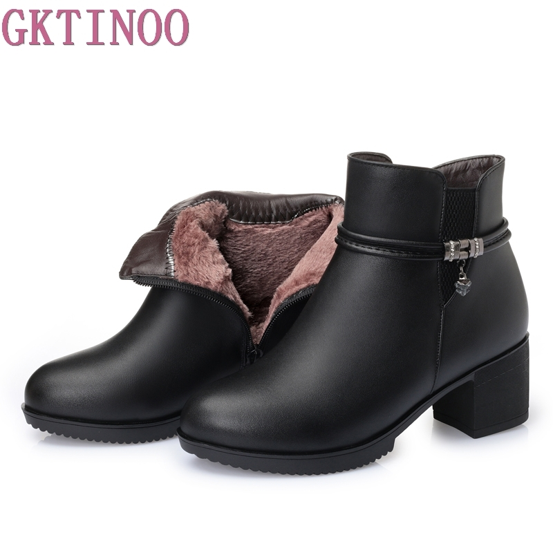 2018 Fashion Winter Women Boots Genuine Leather Round Toe Ankle Boots Ladies Thick High Heels Platform Shoes Woman<br>