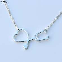 hzew hot sale Stethoscope Necklace for Nurse Doctor Gift Medical Jewelry Never Fade I Love You Heart Pendant Necklace