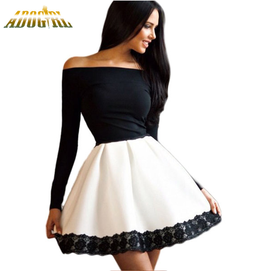 Buy off shoulder long sleeve skater dress and get free shipping on  AliExpress.com 6d6f87f0ca21