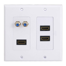 3HDMI Wall Plate Composite Video Audio Adapter Jack Outlet Panel HDTV ABS CCTV TV(China)
