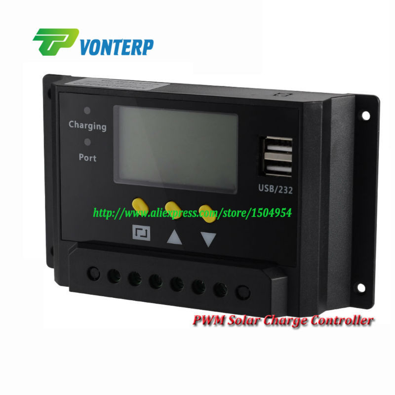 20A 12/24V auto work,large LCD display solar charge controller,Intelligent PWM charge mode<br><br>Aliexpress