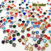 Free shipping Mix color 4mm/5mm/6mm/7mm/8mm Silver bottom round shape sew on rhinestones with holes diy/clothing accessories(China)