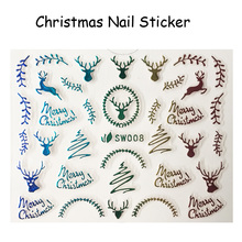 FOREVERJASMINE 5pcs Rainbow Christmas Reindeer Nail Art Sticker Xmas Ornament Nail Decal Fluorescent Manicure Decorations SW08