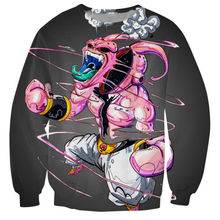 Harajuku Comic Kid Buu Men 3D Sweatshirt Jumper Anime Dragon Ball Majin Buu Crewneck Hoodies Pullovers Unisex Cool Outerwear