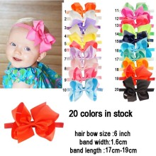 "Buy 20pcs/lot Gilrs Headband Head Wraps Elastic Bands 6"" Grosgrain Ribbon Hair Bows Headband Kids Headbands Hair Accessories for $15.74 in AliExpress store"