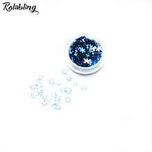 Rolabling 1PC/BOX Blue Snow Flake Design Nail Glitter Powder Dust 3D Manicure Art Design Tool DIY Art Accessories For Nails(China)