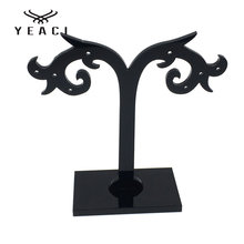 YEACI 50Pcs/Lot  80 * 80mm Earrings Acrylic display stand wheat-shaped jewelry display black Z-052