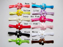 Free Shipping 30 Pcs/lot Baby Satin Flower Headbands,Fashion Solid Headband For Girls,Children Bead Elastic Hairband