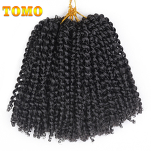 TOMO Hair 8 inch Ombre Marlybob Crochet Braids 6pcs/lot Afro Kinky Twist Hair 30g/pack Black Blue Synthetic Hair Extensions(China)