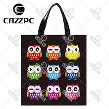 Black Colorful Cute Owl Expressive Print Nylon Oxford Reusable Shopping Bag Gift Foldable Bag Eco Bag Pack of 2