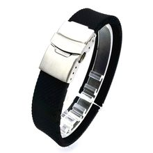 Black Silicone Rubber Watch Band Strap Straight End Bracelet Stainless Steel Double Click Folding Clasp 20 22 24mm