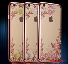 Gold Frame Case Shinning Diamonds Flowers leaf Clear Transparent Soft Bags Cover For iPhone iphoe 5S SE / 6 6S / 6 plus 6sPlus