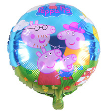 10pcs 18inch Cartoon family Pink Pig inflatable helium balloons baby birthday party decoration supplies(China)