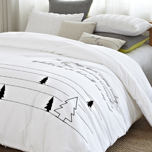 1pc comforter bedding soft microfiber embroidered forest pattern black and white stripe autumn winter brief quilted comforter