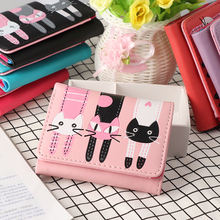 1PC Unisex Cat Pattern Coin Purse Cute Fashion Short Wallet PU Leather Vintage Wallet Card Holders Handbag High Quality(China)