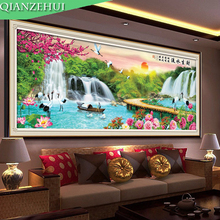 QIANZEHUI.Needlework,DIY Running water on enhancing crane, fisherman, sun, plum cross stitch,  scenery ,Wall Home Decro