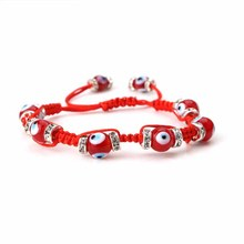 EVIL EYE new fashion red glass evil eye bead red string crystal wheel handmade bracelet for women(China)