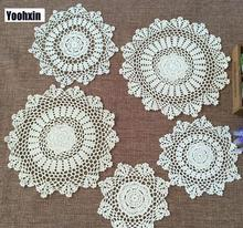 Kitchen tableware HOT lace cotton place table mat pad cloth crochet cup round iron doilies glass coaster mug pot holder placemat