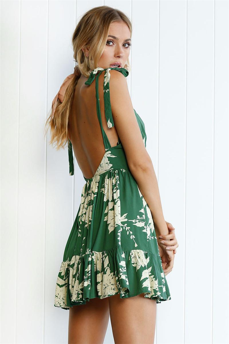 Hirsionsan Short Bohemian Dress 2017 Summer Women Sundress Sexy V-neck Floral Print Boho Dress Backless Green Beach Sundress 8