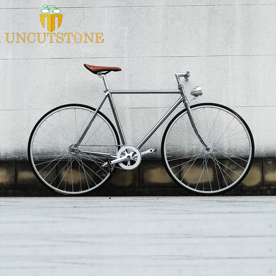 Fixed-Gear Bike Frame Retro-Steel-Frame Vintage Single-Speed 700C 52cm 48cm Sliver DIY title=