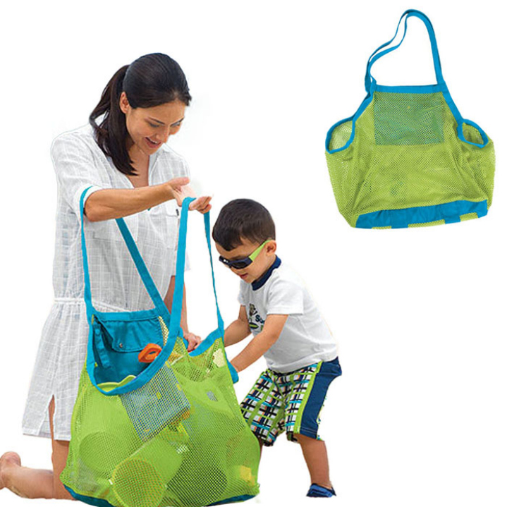 2017 Hew Sand Away Carry Beach Mesh Bag for Chidren Swim Beach Toys Clothes Towel Bag Baby Toy Collection(China)