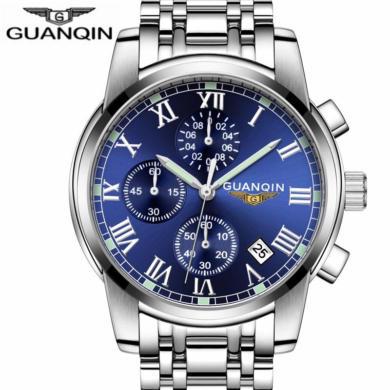 2018  GUANQIN Mens Watches Top Brand Luxury Business Clock Men Sport wristwatches Waterproof Stainless steel  men Quartz Watch<br>