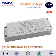 DHL free shipping  30W Triac Dimmable driver/ constant Voltage (DC12V/24V/36V/48V) dimmable led driver/ led lighting dimmable