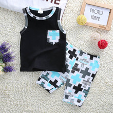 2016 New Summer Hot Selling Baby Boys clothes Sets Fashion O Neck Sleeveless Summer Outfits Pocket Tops Vest+Pants 2pcs Cloths(China)
