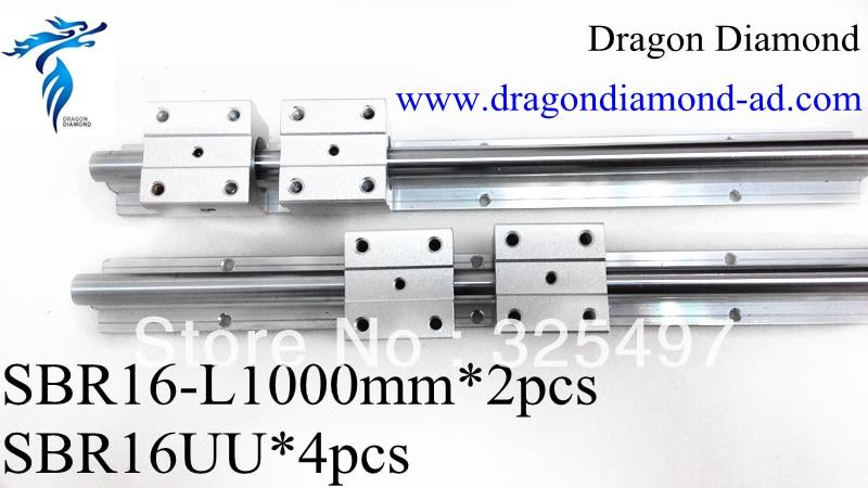 2pcs linear rails slide support SBR16 -1000mm rails+4pcs SBR16UU Linear Slide Bearing blocks For CNC Router<br><br>Aliexpress