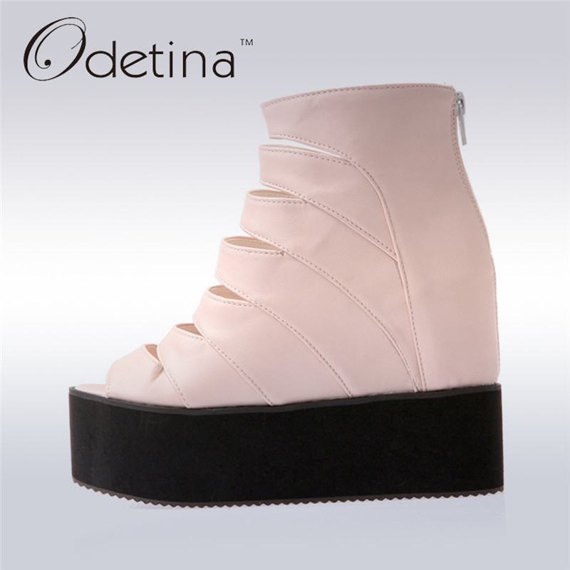 Odetina 2017 New Fashion Candy Color Wedge Heels Open Toe Women Thick Platform Sandals Peep Toe Summer Boots Hollow Out Zipper<br>