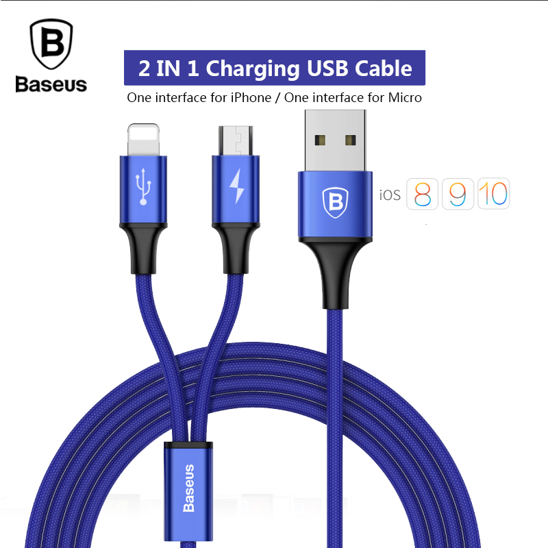 Baseus 2 in 1 Charging Cable 3A Charge Cable For Samsung Xiaomi Meizu Micro USB Cable For lightning iPhone 5 6 7 Cable(China)