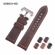 Special Offer Classical Handmade Matte Vintage Soft Genuine Leather Watchband Watch Strap 22mm 24mm 26mm(China)