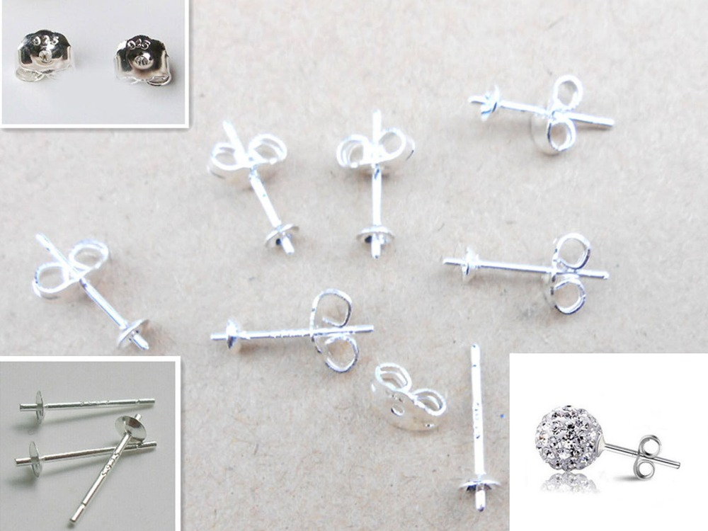 925 Sterling Silver CUPPED Ear Studs Earring Pins Posts Jewellery DIY Findings