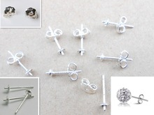 Free Jewelry Findings 100PCS Bulk 925 Sterling Silver Ear Pin Pairs Stud Earrings 925 BACK STOPPERS Post Handmade  FY-01+02