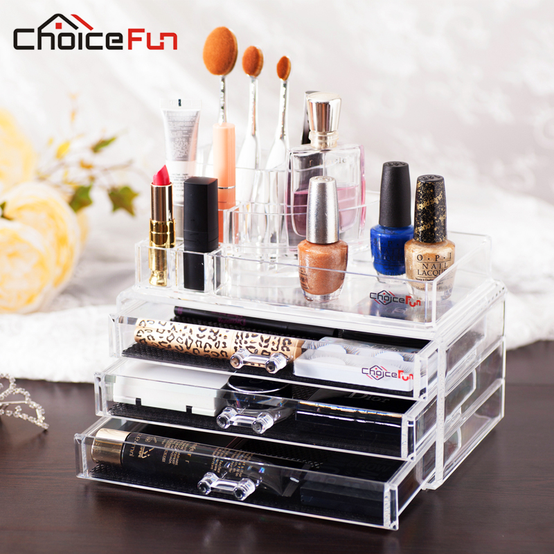 CHOICE FUN Acrylic Makeup Organizer Storage Box Cosmetic Organizador De  Maquiagem Makeup Storage Drawers Organizer(