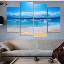 Fashion beach prints home decor decoration picture Beautiful canvas art cheap chinese oil painting 4 pcs/set no frame wholesale(China)