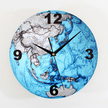 30cm Beautiful Blue Planet Clock Movement Mute Sweep Seconds Wall Clock Fashion Creative Arts Wall Clocks Office / Living Room(China)