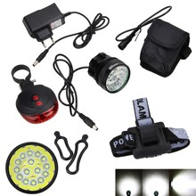 Cycling Bike Light Accessories 50000Lm 15x XML T6 LED Bicycle Headlight Lamp +Rechargeable Battery Pack+Charger+Red Laser Light(China)