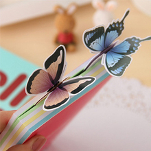 6 Pcs Cute Kawaii Cartoon 3d Paper Butterfly Souvenir Bookmark Vintage Bookzzi Bookmarks for Book Korean Stationery(China)