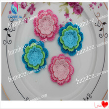 "10 pcs 1.8"" zakka fashion 100% cotton knitted handmade rose flower applique for garment as clothing accessories from china felt(China)"