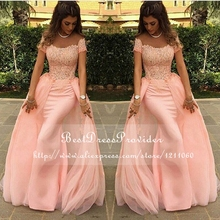 Long Evening Dress 2017 Mermaid abendkleider Lace Pink New Arrival Formal Evening Dresses Arabic Evening Gowns robe de soiree