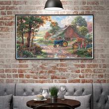 Thomas Kinkade Farm Barns Chickens Tractors Flowers Art Silk Poster Home Decor Oil Painting 11x20 16x29 20x36 Inches Unframed(China)