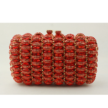 Pillow-Shaped Designer Bags for Women Red Crystal Clutch Evening Bag Skeleton Hand Beaded Crystal Clutch Evening Purses UK Sale
