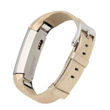 Replacement leather bands for fitbit alta ,High quality metal buckle Fit for most wrist Nice Gold Color 2pcs/lot(China)