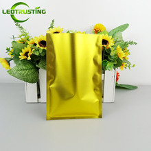 Leotrusting 100pcs Open Top Matt Gold Aluminum Foil Bag Herbal Medicine Fidget Spinner Packaging Bag Gold Heat Seal Vacuum Pouch(China)