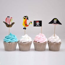 Free shipping 60pcs/pack cocktail umbrella picks Pirate sticks art toothpicks cupcake toppers party decoration(China)
