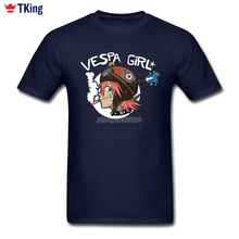Vespa Girl Men T Shirt  Boy Tees Shirts Short Sleeve Bespoke New Arrivals Brand-clothing Printed XXXL Round Neck T-Shirt
